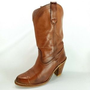 VTG Frye Brown Leather Heel Cowboy Western Boots